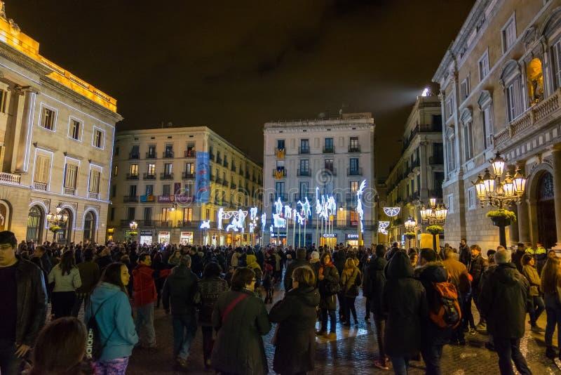 Nativity scene at night in Plaza Sant Jaume, Barcelona, Catalonia, Spain. Nativity scene photo at night in Plaza Sant Jaume, Barcelona, Catalonia, Spain royalty free stock photos