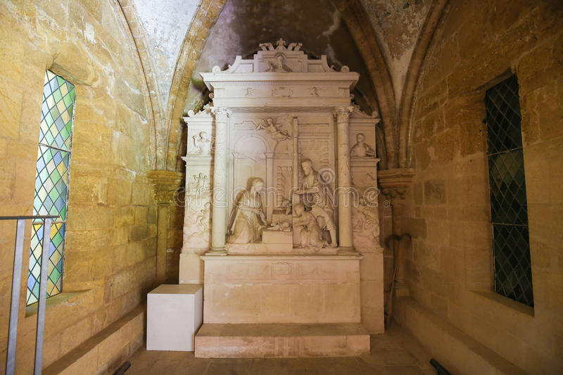 Nativity Scene in Old Cathedral of Coimbra, Portugal. Sculpture depicting a Nativity Scene in the Cloister of the Old Cathedral or Se Velha in Coimbra, Portugal stock photography
