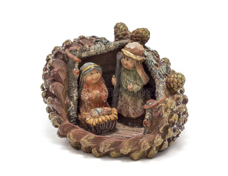 Nativity scene in a pinecone stock photo