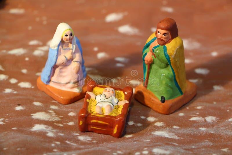 Nativity scene with provencal Christmas crib figuresNativity scene with provencal Christmas crib figures. Nativity scene with provencal Christmas crib figures of stock photo