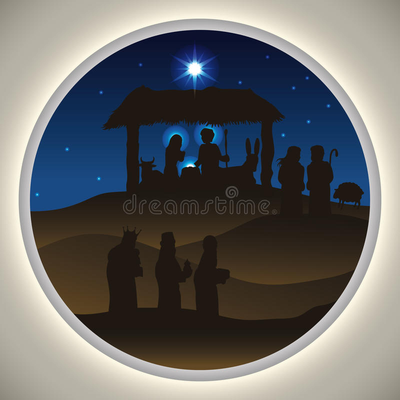 Nativity Scene Silhouettes in a Beauty Landscape, Vector Illustration. Beauty landscape of the Holy Family with the Three Wise Men and shepherds visiting baby royalty free illustration
