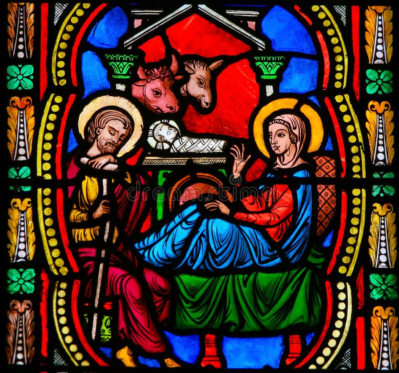 Nativity Scene - Stained Glass in Monaco Cathedral stock photography