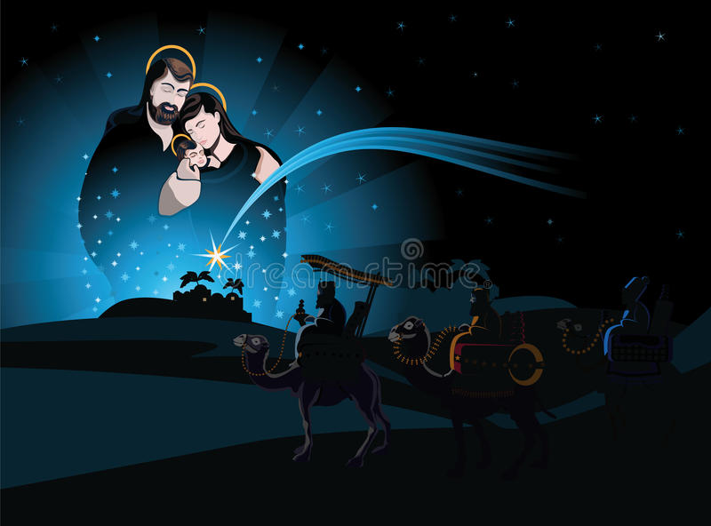 Nativity scene and the three wise men vector illustration