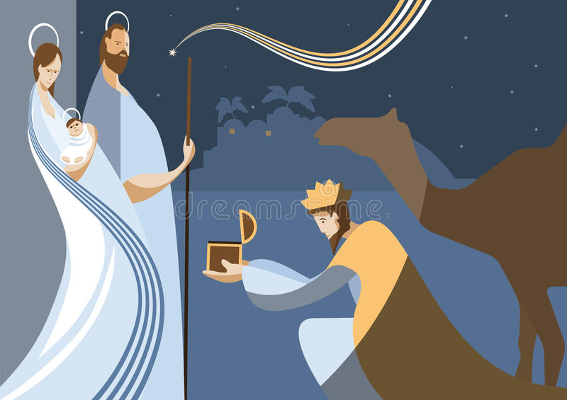Nativity scene and the three wise men stock illustration