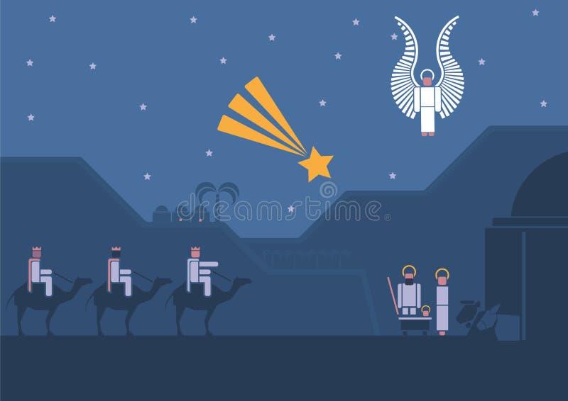 Nativity scene and the three wise men stock illustration