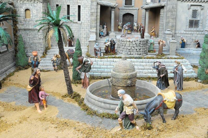 Nativity scene. Traditional European Statuette in a Christmas Crib Nativity Scene royalty free stock image