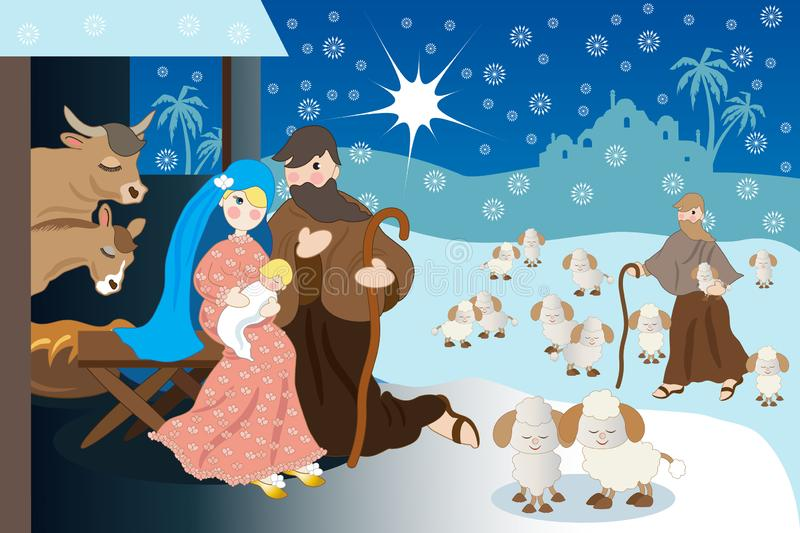 Jesus` Christmas with holy family and shepherd. Nativity scene under the snow of Jesus in the hut with holy family and a shepherd with sheep vector illustration