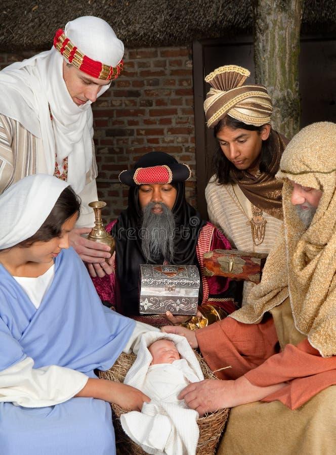 Nativity scene with wisemen royalty free stock photography