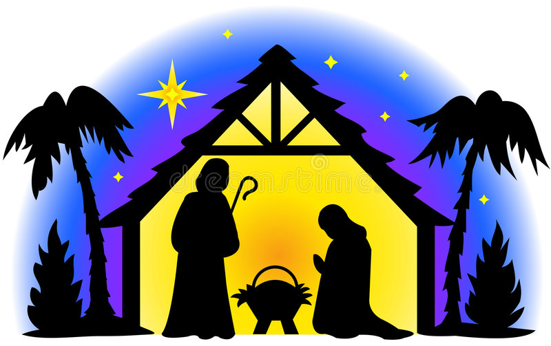 Nativity Silhouette. Illustration of the holy family in silhouette...I also have two matching illustrations, shepherds and wisemen...perfect for Christmas cards