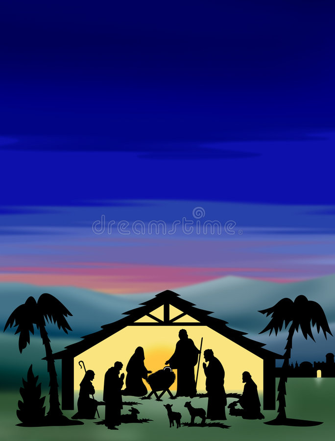 Nativity Silhouette Color royalty free illustration