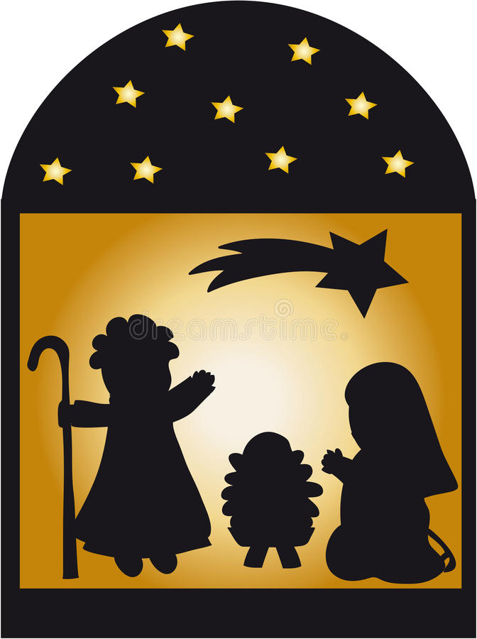 Nativity silhouette and stars stock photography image
