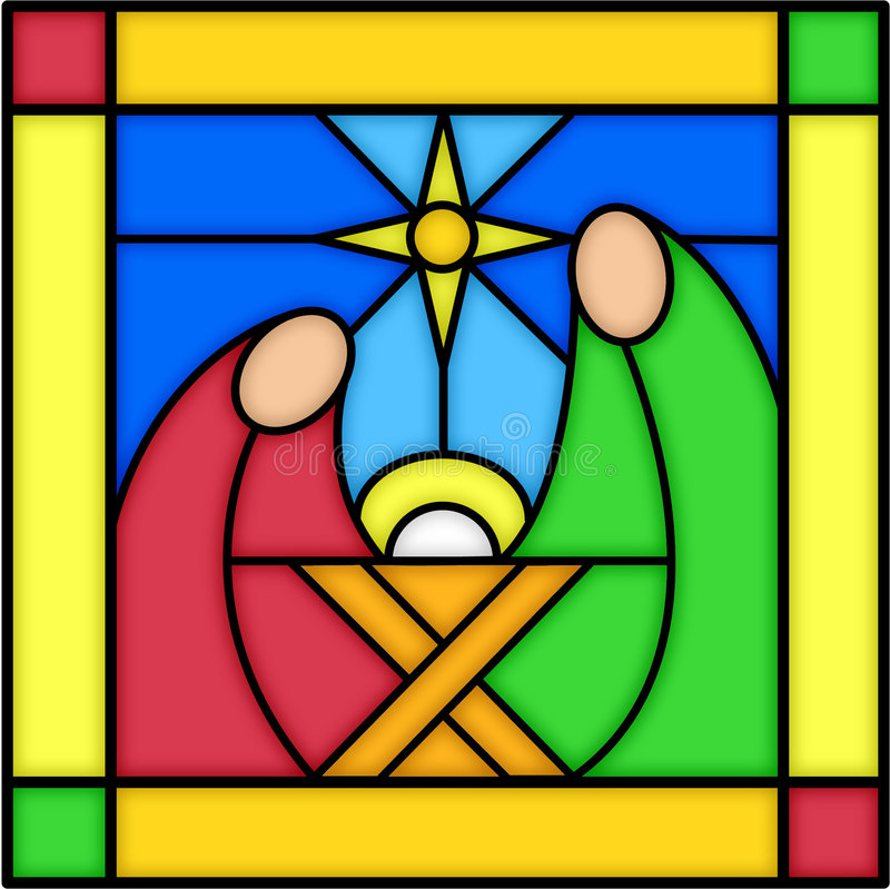 Nativity in stained glass. Illustration of a square stained glass panel with a nativity scene. see matching panels in my portfolio. kings, shepherds and angel