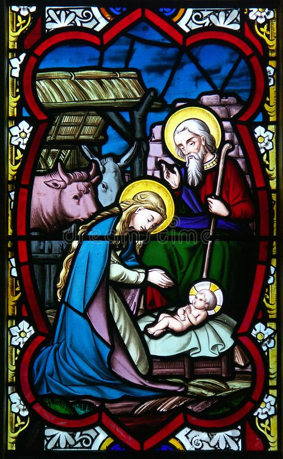 Nativity stained glass royalty free stock images