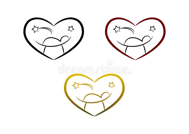 Nativity symbol (heart). Heart symbol/icon: Simple line-art drawing of Nativity scene showing baby Jesus and the Star of Bethlehem; three color versions included royalty free illustration