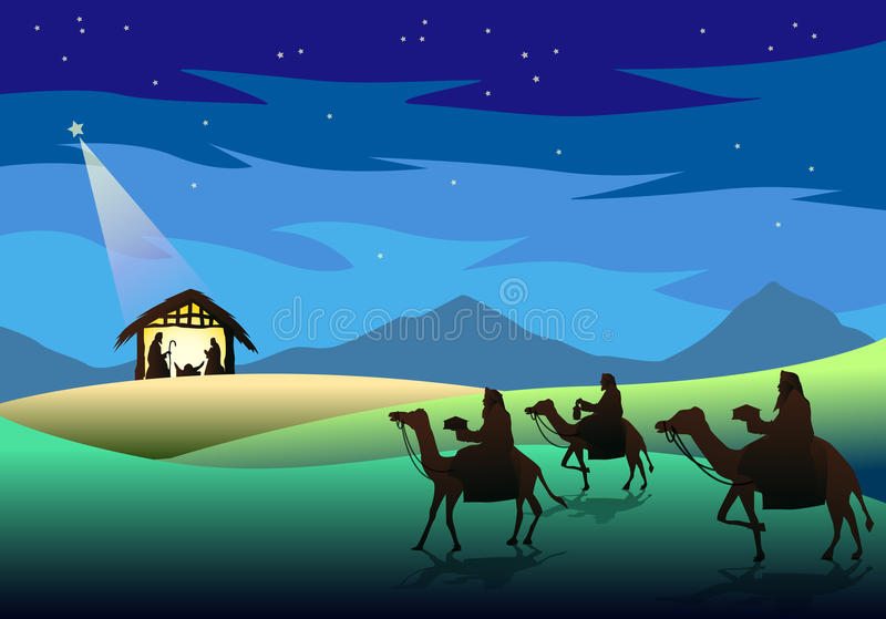Nativity and Three Wise Men. Illustration of three wise men from the East following the star and coming to worship baby Jesus in the stable