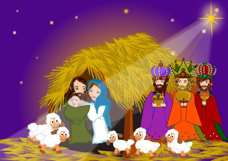 Nativity. Three wise men in nativity christmas scene background illustrations vector illustration