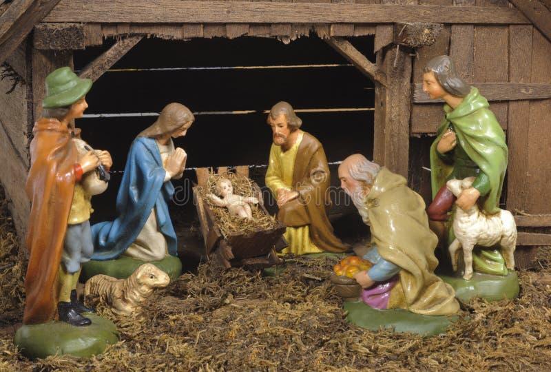 Nativityscène van Kerstmis stock afbeeldingen
