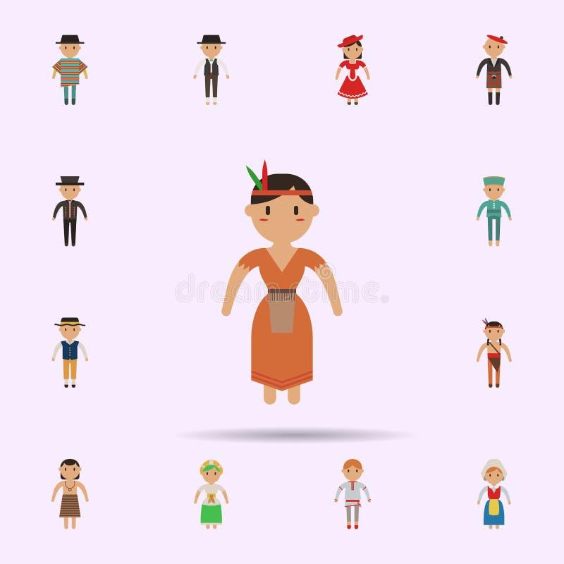 Nativo americano, ?cone dos desenhos animados da mulher Grupo universal de pessoas em todo o mundo para o projeto do Web site e o ilustração do vetor