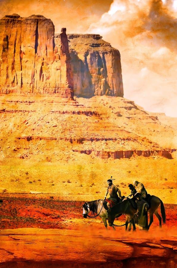 Nativo americano en grunge stock de ilustración