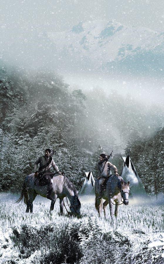 Nativo americano en paisaje nevoso ilustración del vector