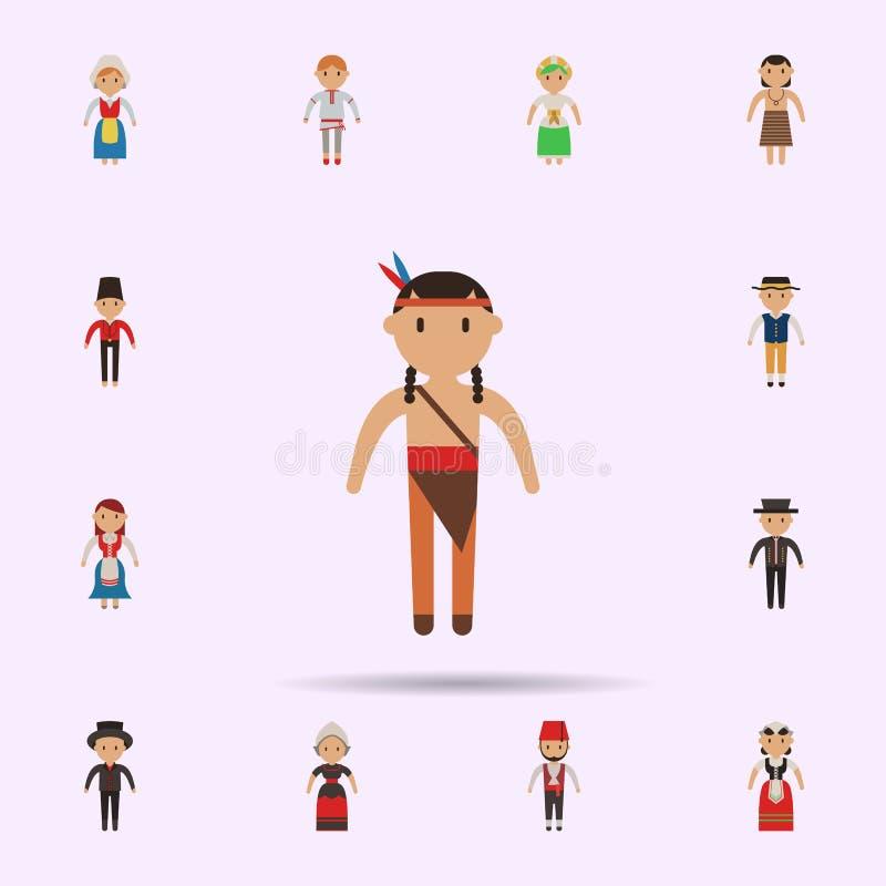 Nativo americano, icono de la historieta del hombre Sistema universal de gente en todo el mundo para el dise?o y el desarrollo, d ilustración del vector