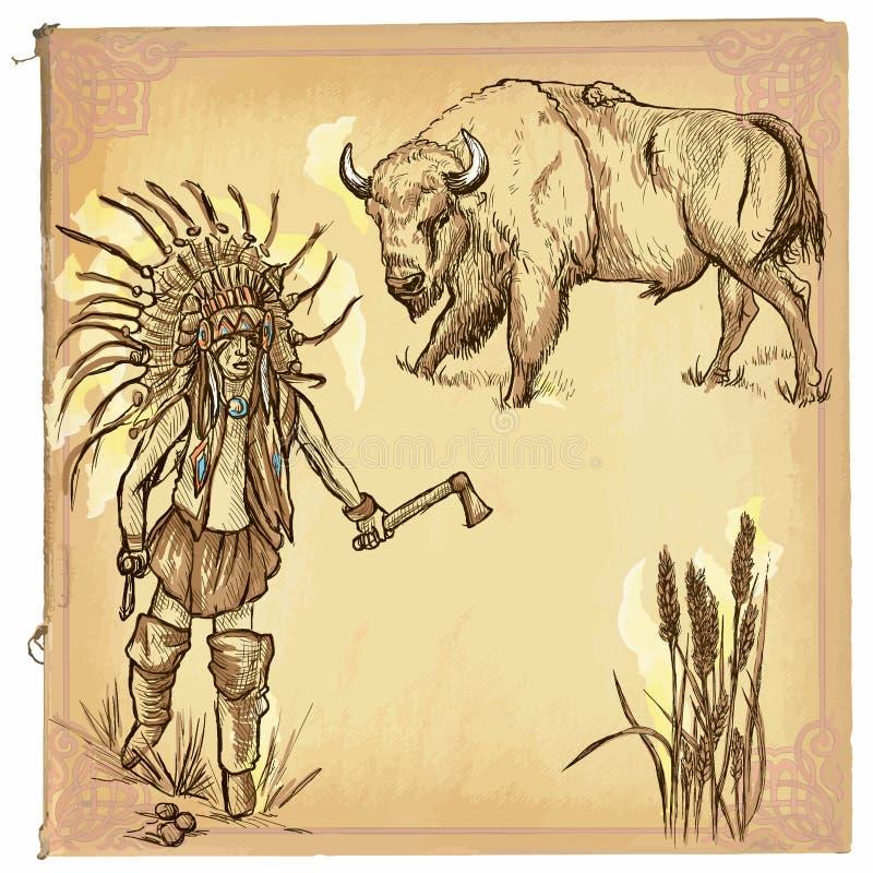 Nativo americano, indio - un bosquejo dibujado mano del vector, a pulso ilustración del vector