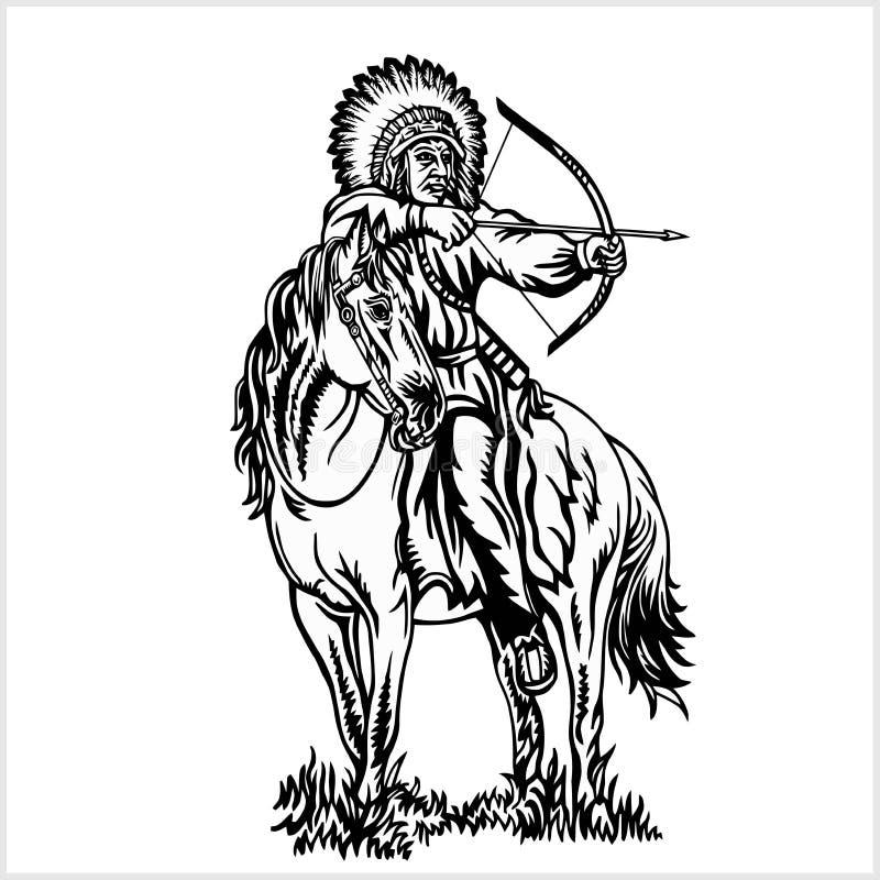 Nativo americano - jinete en caballo stock de ilustración