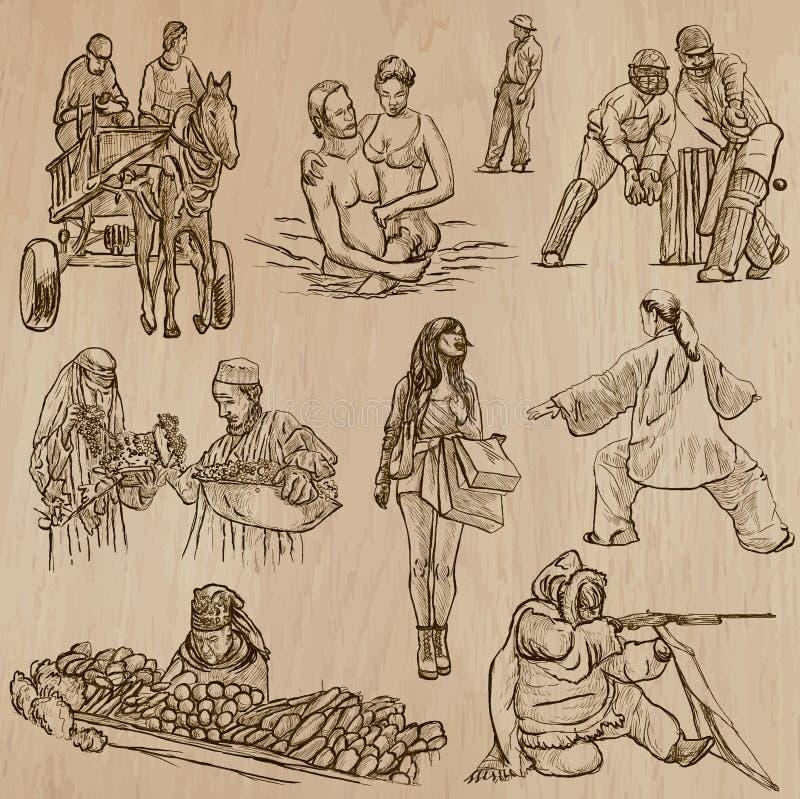Nativos - vetores tirados mão ilustração do vetor