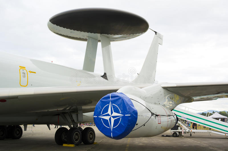NATO airplane with special radar stock image