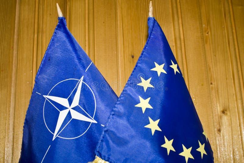 NATO and EU flags stock photos