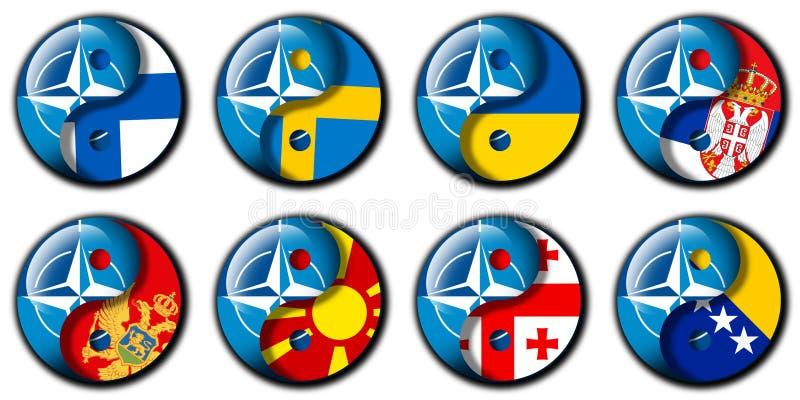 Nato och Finland, Sverige, Ukraina, Serbien, Montenegro, Makedonien, Georgia, Bosnien fotografering för bildbyråer
