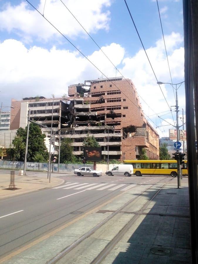 NATO-Ruinen in Belgrad lizenzfreies stockfoto