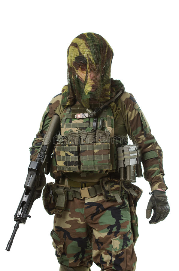 NATO soldier in full gear. Military man isolated over white background stock images