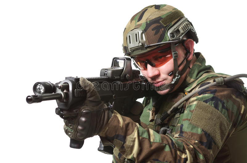 NATO soldier in full gear. Military man isolated over white background stock photos
