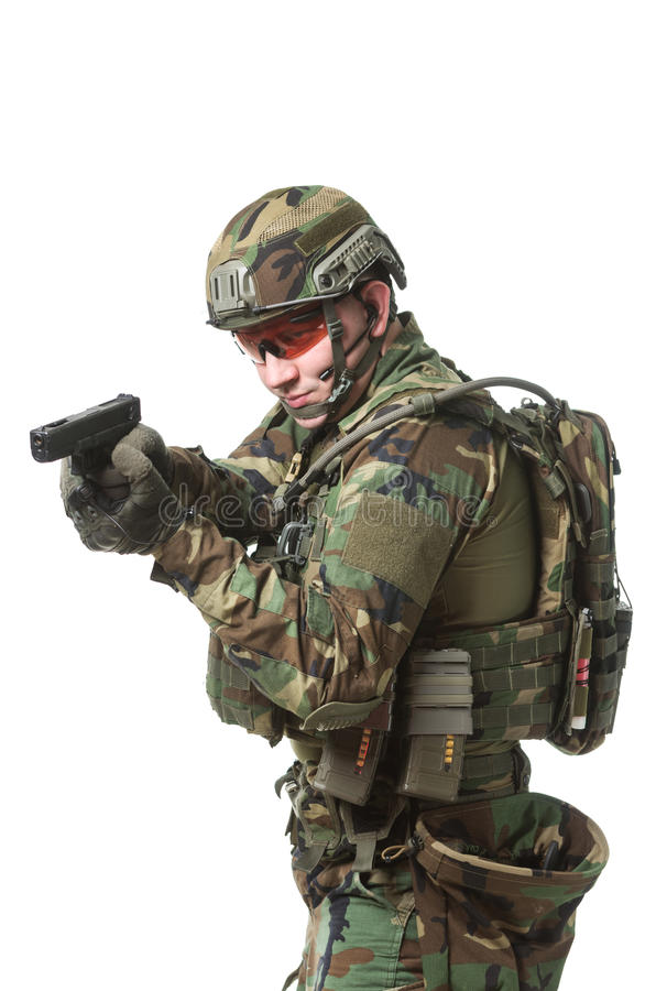 NATO soldier in full gear. Military man isolated over white background royalty free stock photography