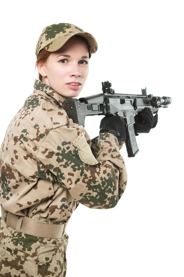 NATO soldier. Military woman isolated over white background stock images