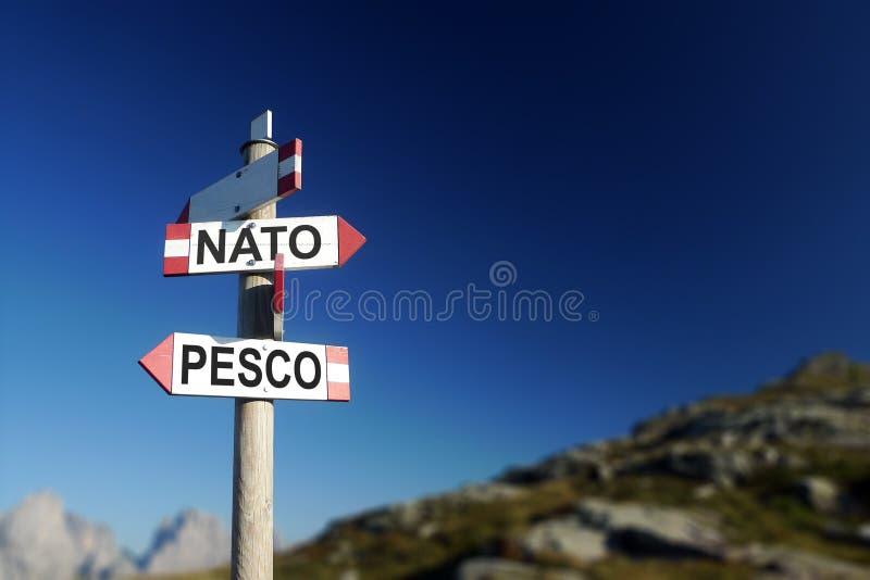 NATO-WSKI i PESCO, dwa strategicznego defence systemu zdjęcia stock