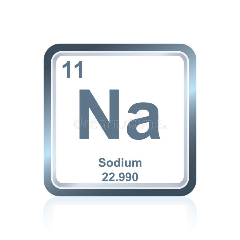 Natrium för kemisk beståndsdel från den periodiska tabellen stock illustrationer