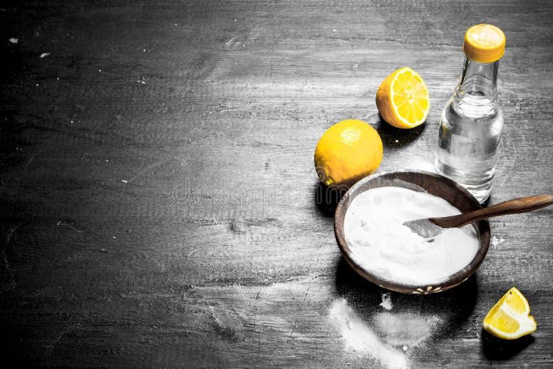 Natriumbikarbonat i en bunke med vinäger- och citronskivor royaltyfria bilder