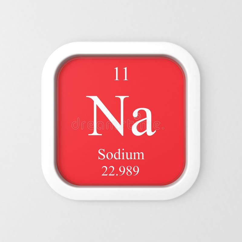Natriumsymbol på röd rundad fyrkant stock illustrationer