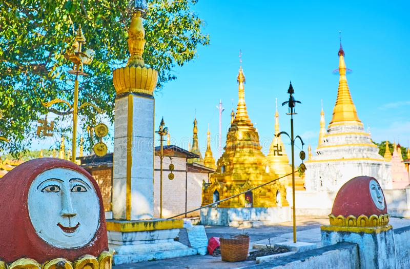Nats精神雕象在Nget Pyaw Taw Paya,Pindaya,缅甸的 免版税库存照片