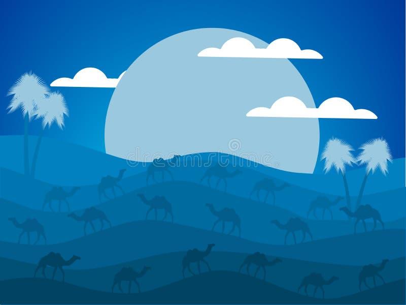 Nattökenlandskap Husvagn av kamel i öknen stor moon vektor stock illustrationer