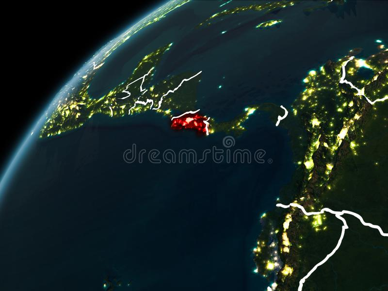 Natt över Costa Rica stock illustrationer