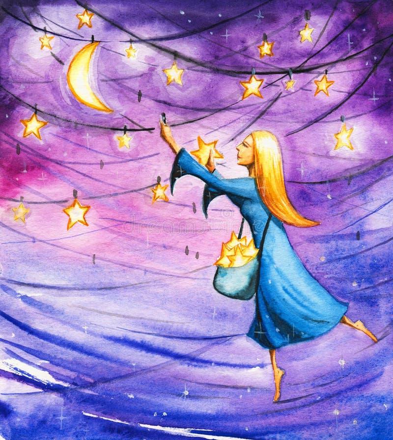 natt royaltyfri illustrationer