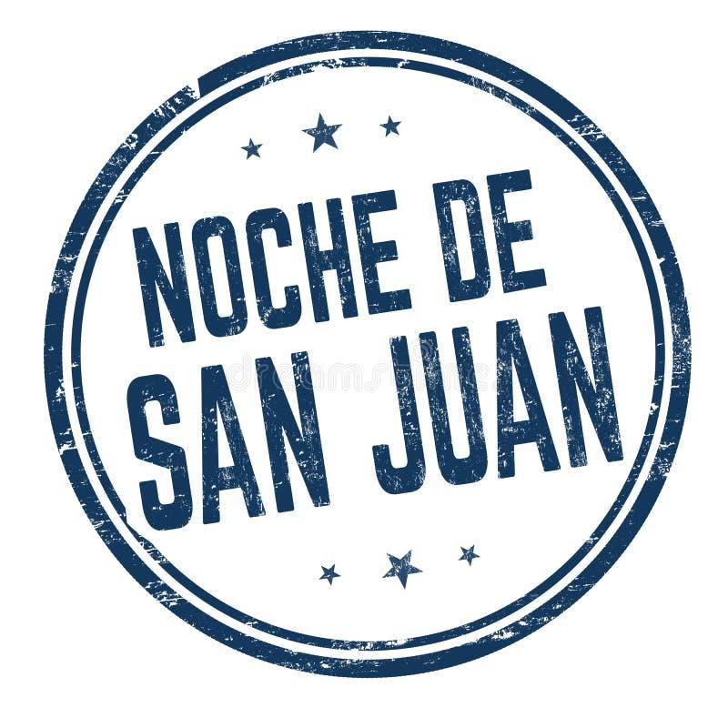 Natt av Saint John på det Noche de San Juan för spanskt språk tecknet eller stämpeln stock illustrationer