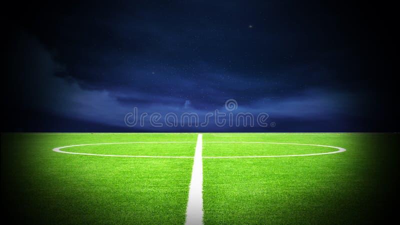 Natt för fotbollfält stock illustrationer