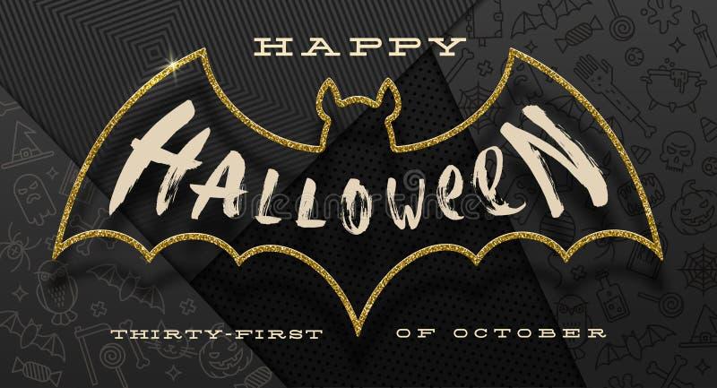 natt för halloween illustrationmoon Borstekalligrafihälsningen inom en översikt av blänker det guld- slagträet, mot en svart papp stock illustrationer