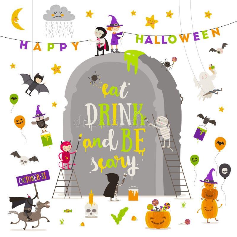 natt för halloween illustrationmoon Grupp av aktiva halloween tecken runt om en jätte- gravsten stock illustrationer
