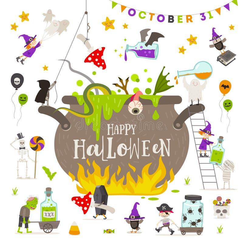 natt för halloween illustrationmoon Grupp av aktiva halloween tecken runt om en jätte- häxakruka vektor illustrationer