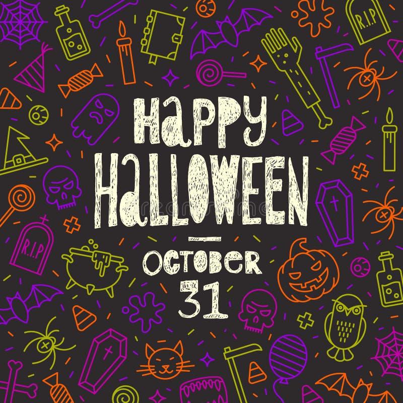 natt för halloween illustrationmoon Räcka den utdragna hälsningen på en bakgrund med det översiktshalloween tecknet och symboler vektor illustrationer